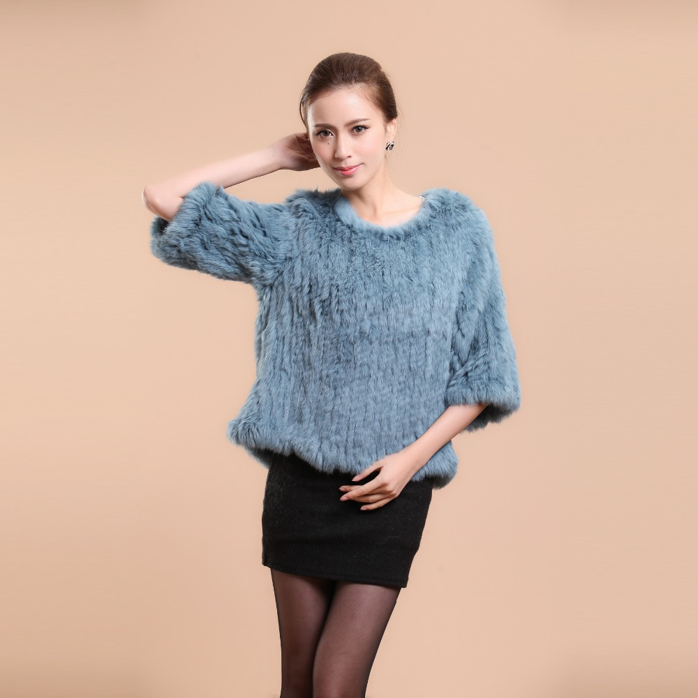 13069B New real knitted rabbit fur jacket coat ladies' dress pull-over dress top quality fur color Blue(China (Mainland))
