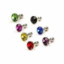 Diamond Anti Dust 3.5mm Earphone Jack Plug Stopper for iPhone 4 4S 5 5S 6 Samsung Galaxy S2 S3 i9300 Note 2 N7100 Phone Dustplug(China (Mainland))