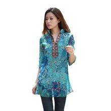 2016 summer new embroidery printing women vestidos Chiffon Dress Red / blue 5XL solid plus size floral casual blouse AC025(China (Mainland))