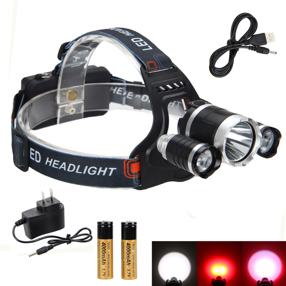NEW Rechargeable 6000LM 3xCREE XML T6 +2x Red R5 LED Headlight+2x18650+Charger+Usb line(China (Mainland))