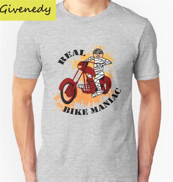 Hot sale Real Bike Maniac Printed Men T Shirt Fashion 2016 New summer Short Sleeve O Neck football sport Cotton T-shirts(China (Mainland))