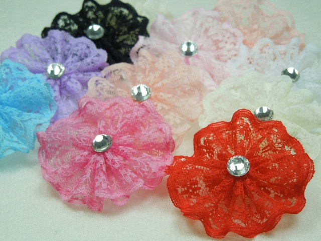 1.5'' Vintage Ruffled Lace and Tulle flower with Dazzling Crystal Boutique flower for hair accessories for kids  50pcs/lot