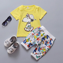 2016 New Summer Children Sets Cotton Sports two piece suit for 1 2 3 4 years old baby boys girls  short set A234(China (Mainland))