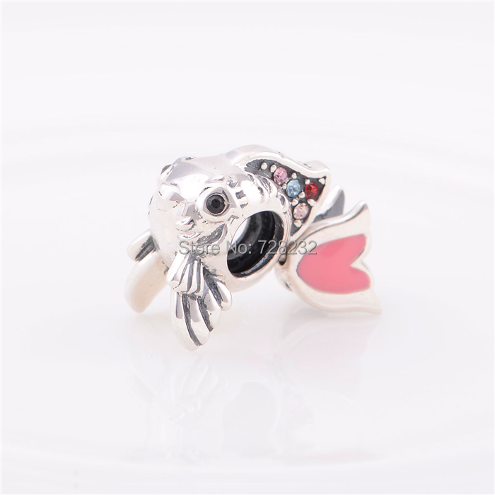 Free shipping colorful crystal 925 sterling silver gold for Pandora fish charm