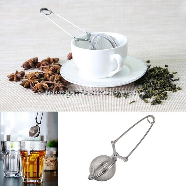 2pcs/set Loose Spring Spoon Tea Mesh Ball Infuser Filter Teaspoon Squeeze Strainer Stainless Steel - ywhome store