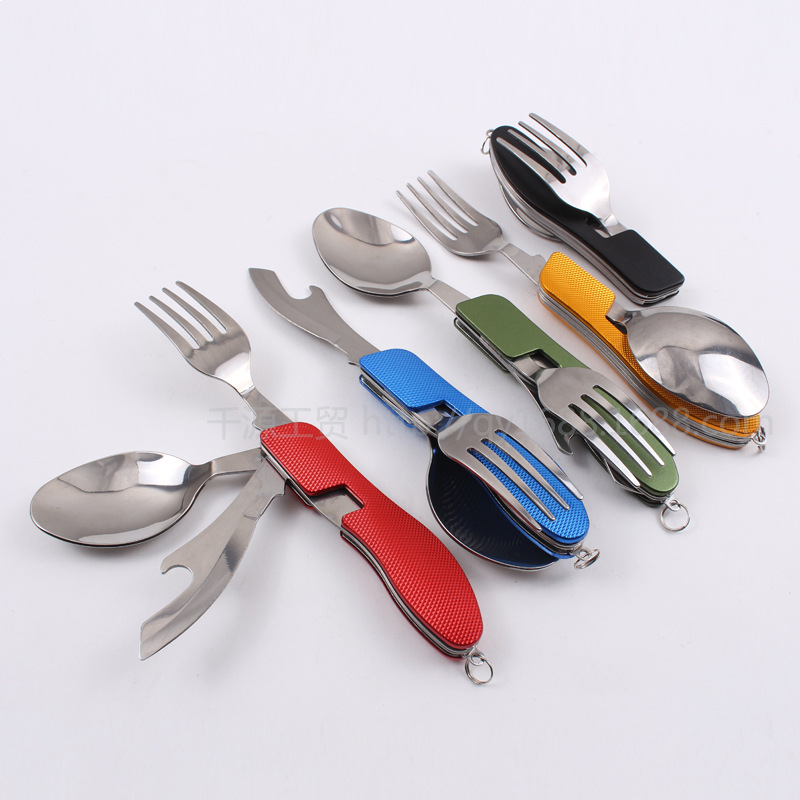 Camping Portable Folding Tableware Knife and Fork Spoon Combination Multifunction Knife Dinnerware Sets D44(China (Mainland))