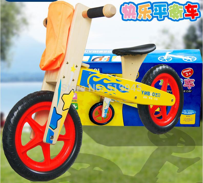 Free shipping Balance bike kids wooden toys Child learning to walk wooden bike balanced car Wooden scooter walkers ride on car(China (Mainland))