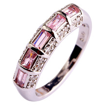 Buy Lingmei Free Unisex handmade Gems Jewelry Pink CZ Silver plated fashion Ring Size 7 8 9 10 11 12 wholesale for $4.74 in AliExpress store