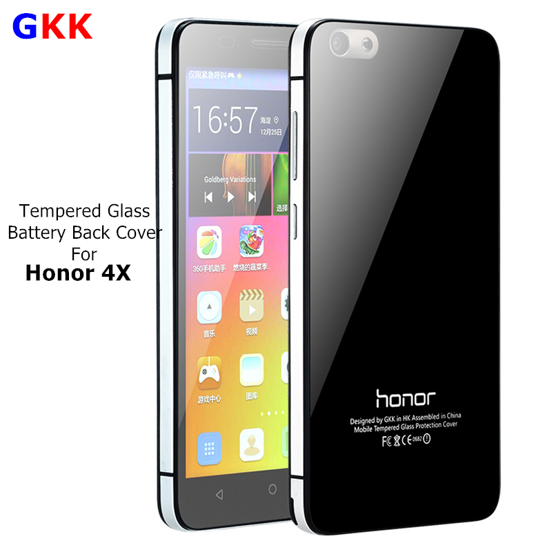 GKK For Huawei Honor 4X case Phone Battery Cover Luxury Aluminum Frame + Tempered Glass Back Cover Mobile Honor 4x Phone Cases(China (Mainland))