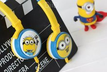 2016 Minions Headphone with Mic for Iphone 5 5s 6 6plus cute music stereo kids mobile phone headset cartoon headband IX11