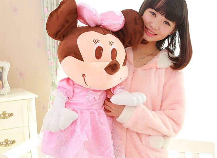 big size lovely mouse toy mickey mouse toy doll pink skirt girl minne toy gift about 80cm(China (Mainland))
