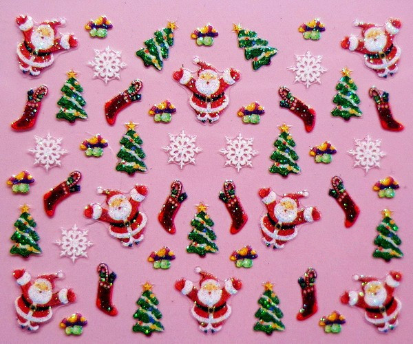 3D Nail Art Stickers Decal Christmas Santa Xmas Cute Tree Flakes Socks Design Decorative French Manicure Foils Stamping Tools(China (Mainland))
