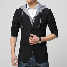 New Fashion Mens Slim Fit Blazers Male Coat Detachable Hooded Blazer Jacket Brand Clothing Men Causal Suit Blazer Plus Size 3XL