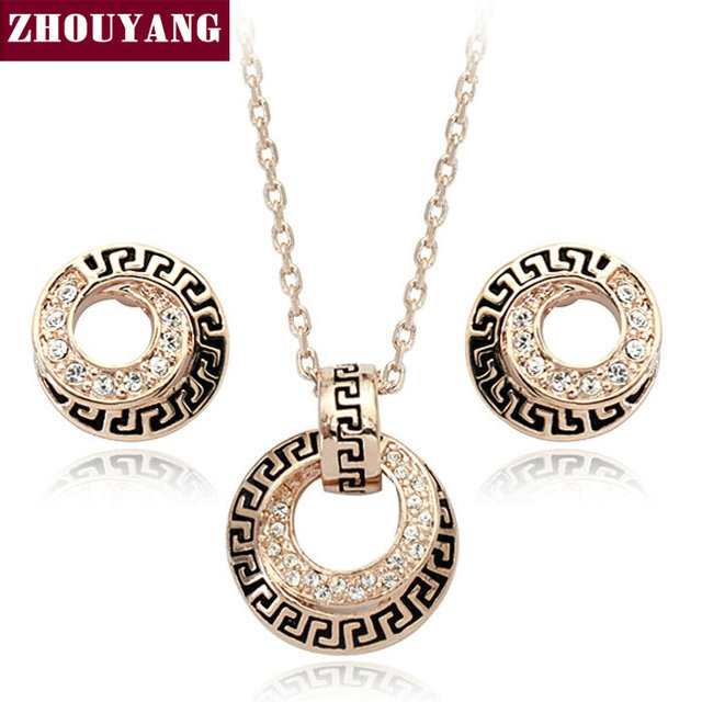 Top Quality ZYS048  Rose Gold Plated Elegant Wedding Jewelry Necklace Earrings Set Made with Austrian Crystals Wholesale