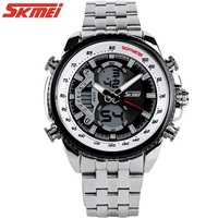 Hot Sales 2014 Mens Classic Watches Analog Digital Dual Time Stainless Steel 30m Waterproof Calendar Japan Movt Wristwatches