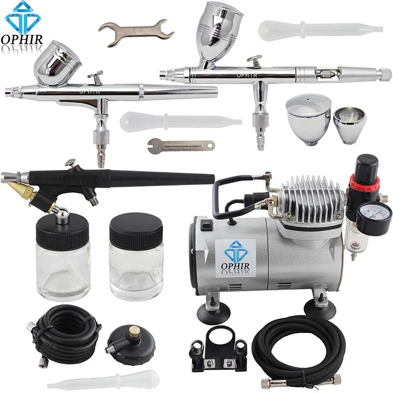 OPHIR Professional 3 Gun Airbrush Dual-Action & Single-Action Kits Air Compressor Hobby Set 110V,220V # AC089+AC004A+AC071+AC006