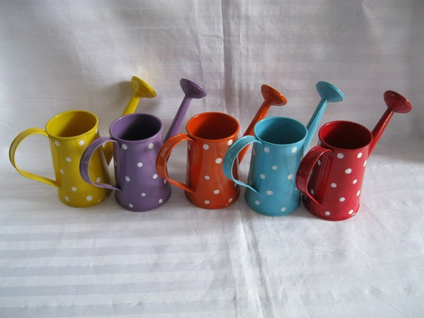 Free Shipping Metal Favor Pail Mini Small Watering Can Dot