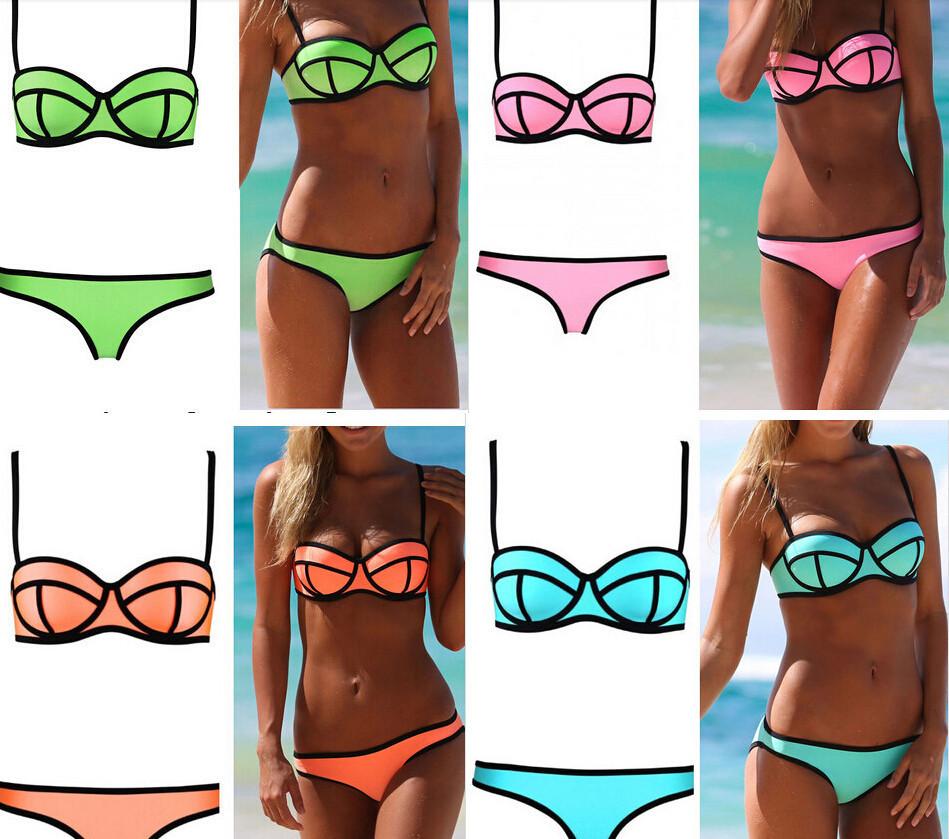 Hot Sale High Quality Women Neoprene Bikini Swimsuit Push Up Bikinis Set Triangle Swimwear Bikinis(China (Mainland))