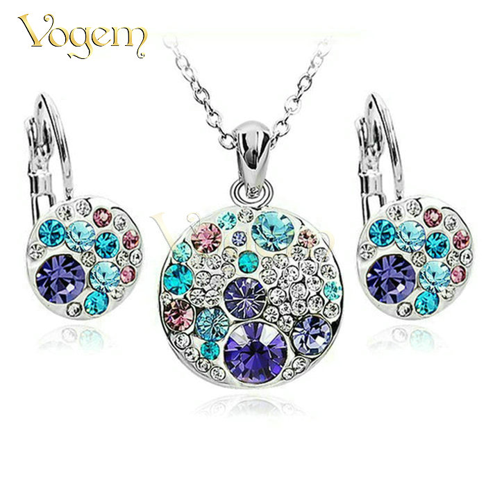 18k italian gold jewelry Austrian Crystal Platinum Gold Plated Jewelry Sets Pendant Necklaces & Hoop Earrings(China (Mainland))
