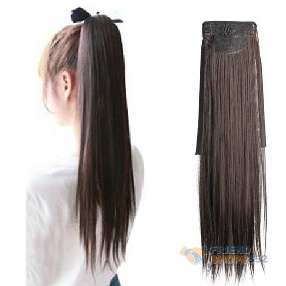 Гаджет  Long Lady Girl Straight Ponytail Wigs Hair Hairpiece Extension Dark Brown F#OS None Волосы и аксессуары