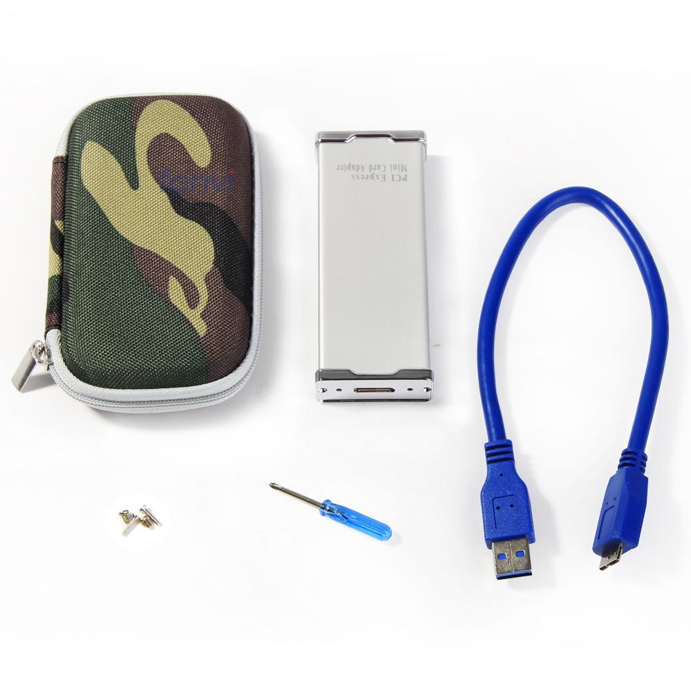 Brand New Fenvi Ultra thin and light Aluminum HDD Enclosure mini pci-e msata ssd to USB 3.0 the external hard drive case(China (Mainland))
