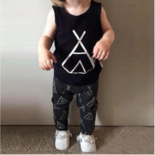 2016 Summer New children clothing set Kids girl clothes cotton cartoon sleeveless T-shirt+pant 2pcs newborn girl clothes suit