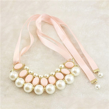 Bohemia Simulated Pearl Necklace Vintage Choker Collar Ribbon Bead Pendants Collier Statement Necklaces For Women Jewelry Gifts