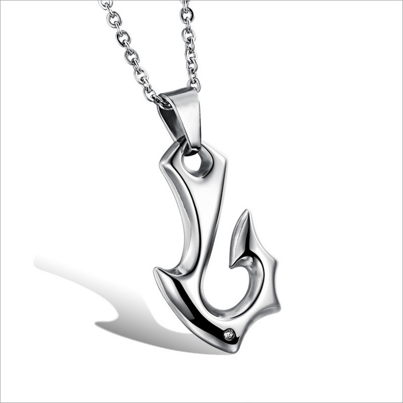 Trendy Punk Style Pendant Necklace Men Stainless Steel Hook Shaped Cool Men's Fashion NecklacesGX944  -  Coolcastle store