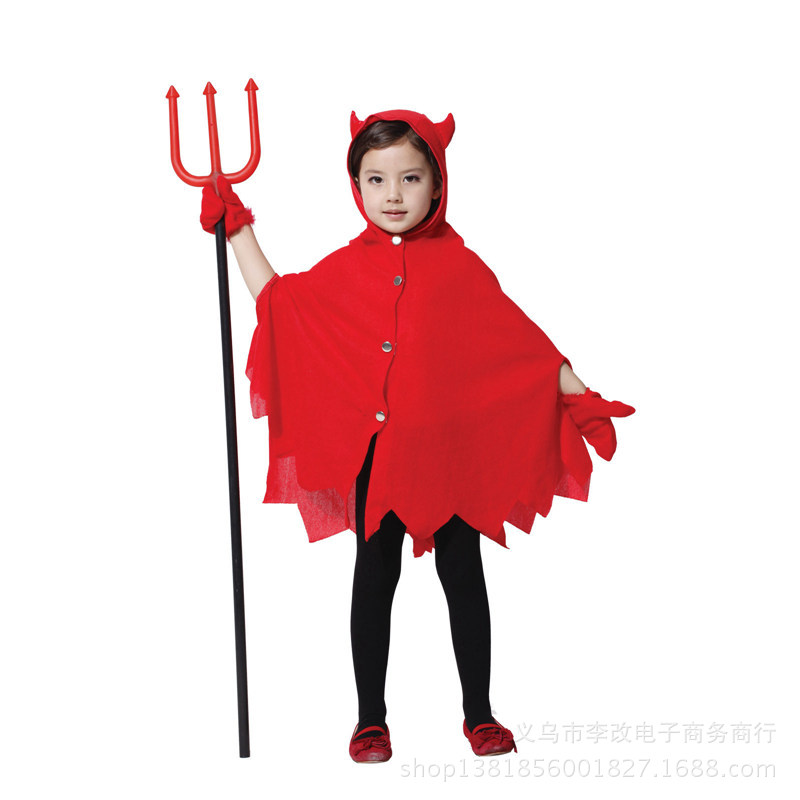 Cheap Childrens Halloween Costumes diy baby halloween costumes Girl Devil Cape Cosplay Costume Satin Dress Pretty Fantasia Girl Carnival Halloween Costume For Kids Children