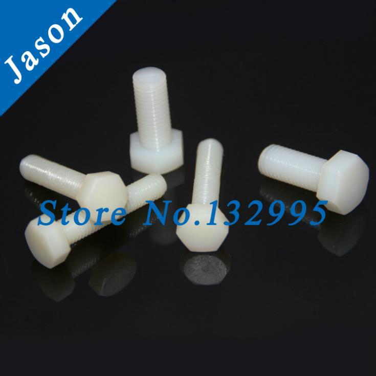 M8*35  Metric Thread *50pcs  Hexagon screw nylon hex bolt nylon plastic plastic screw  Metric Thread<br><br>Aliexpress
