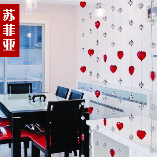 Crystal bead curtain crystal partition curtain finished product curtain entranceway curtain heart style(China (Mainland))