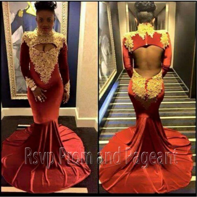 Popular Gold and Burgundy Appliques Dress-Buy Cheap Gold and ...