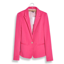 Fashion Women Jacket Suit Foldable Long Sleeves Lapel Coat Lined With Striped Single Button Vogue Jackets