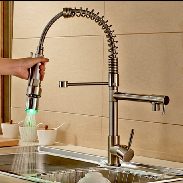 Good Quality Wholesale And Retail Brushed Nickel Pull Dowen Spring Kitchen Faucet Swivel Spout Vessel Sink Mixer Tap