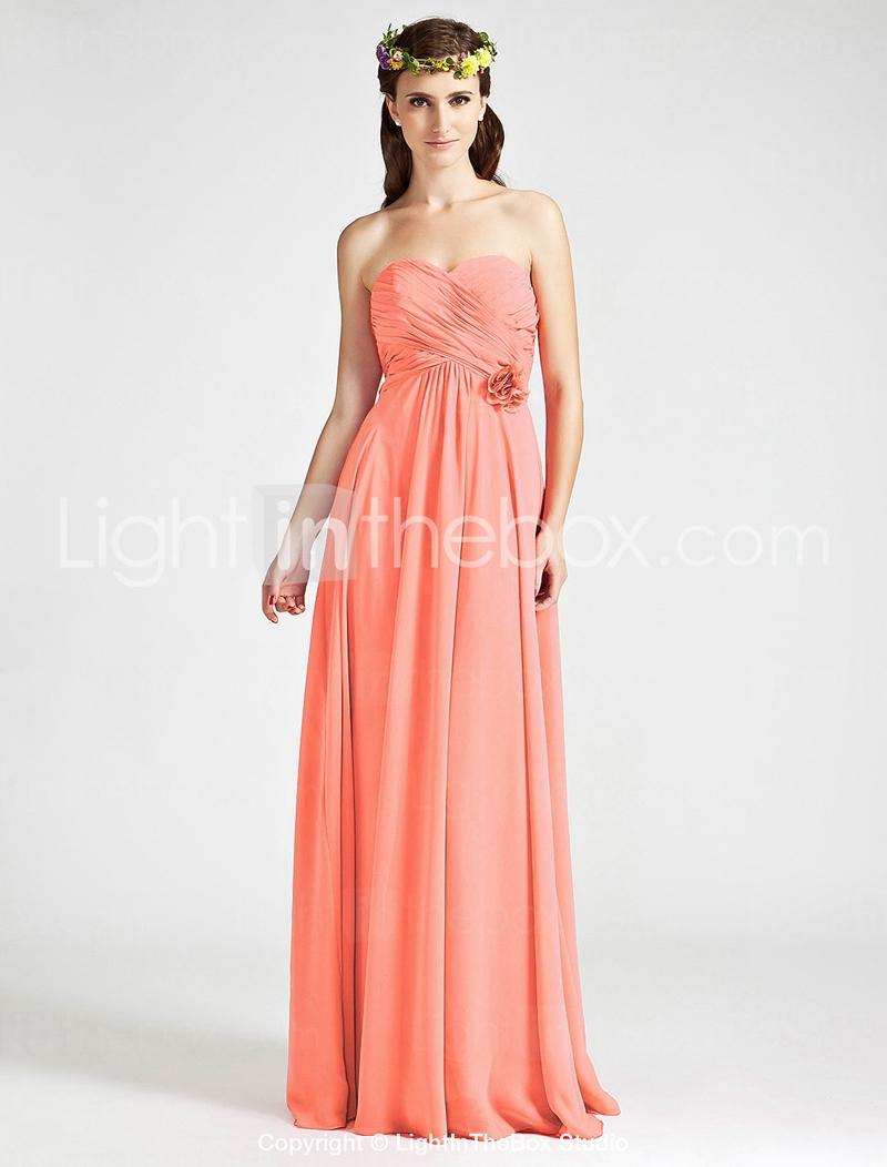 Sheath column sweetheart floor length chiffon bridesmaid for Chiffon sweetheart wedding dress