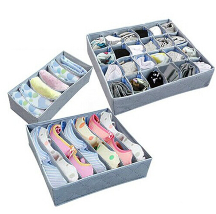 3 Pieces A Set,Foldable Box /Bamboo Charcoal Fibre Storage Box Bra,Underwear,Necktie,Socks Zipper No cover Storage Box(China (Mainland))
