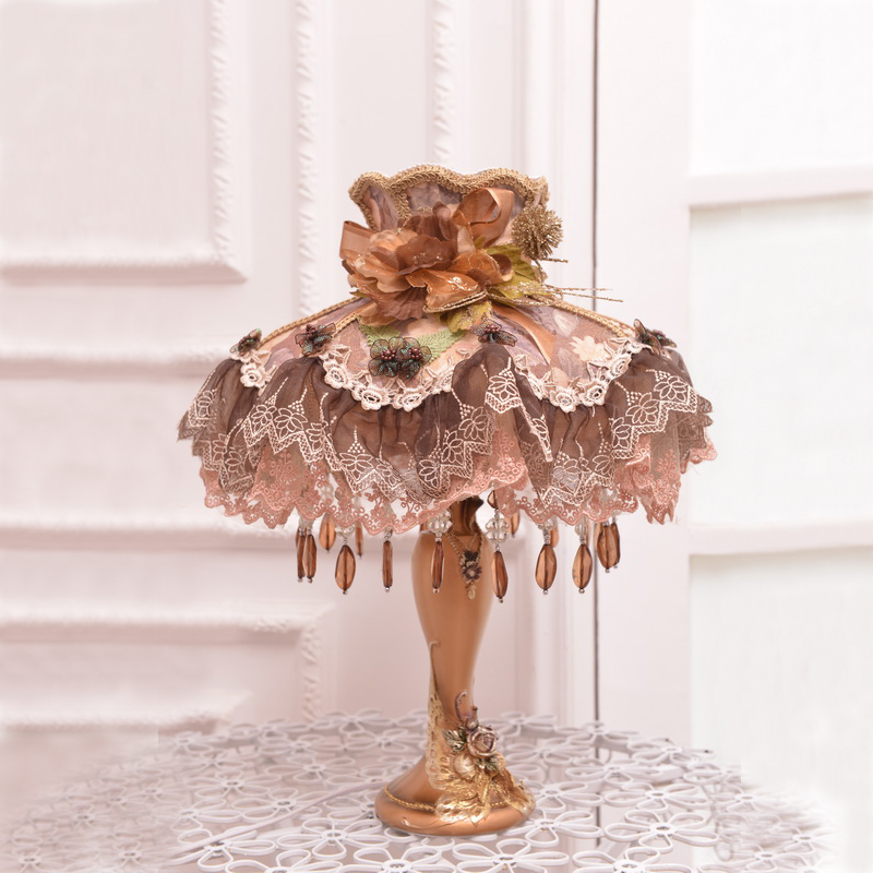 Quality fashion rustic lace fabric table lamp ofhead dimming lighting wedding gift(China (Mainland))