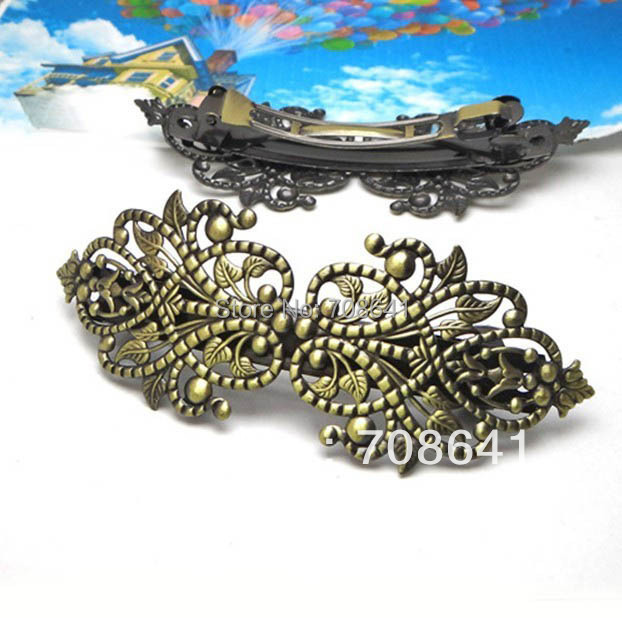 27x78mm Antique Bronze Brushed Blank Base Filigree Flower Spring Barrette Hairpins Hairwear Hair Clips Settings Wholesale(China (Mainland))