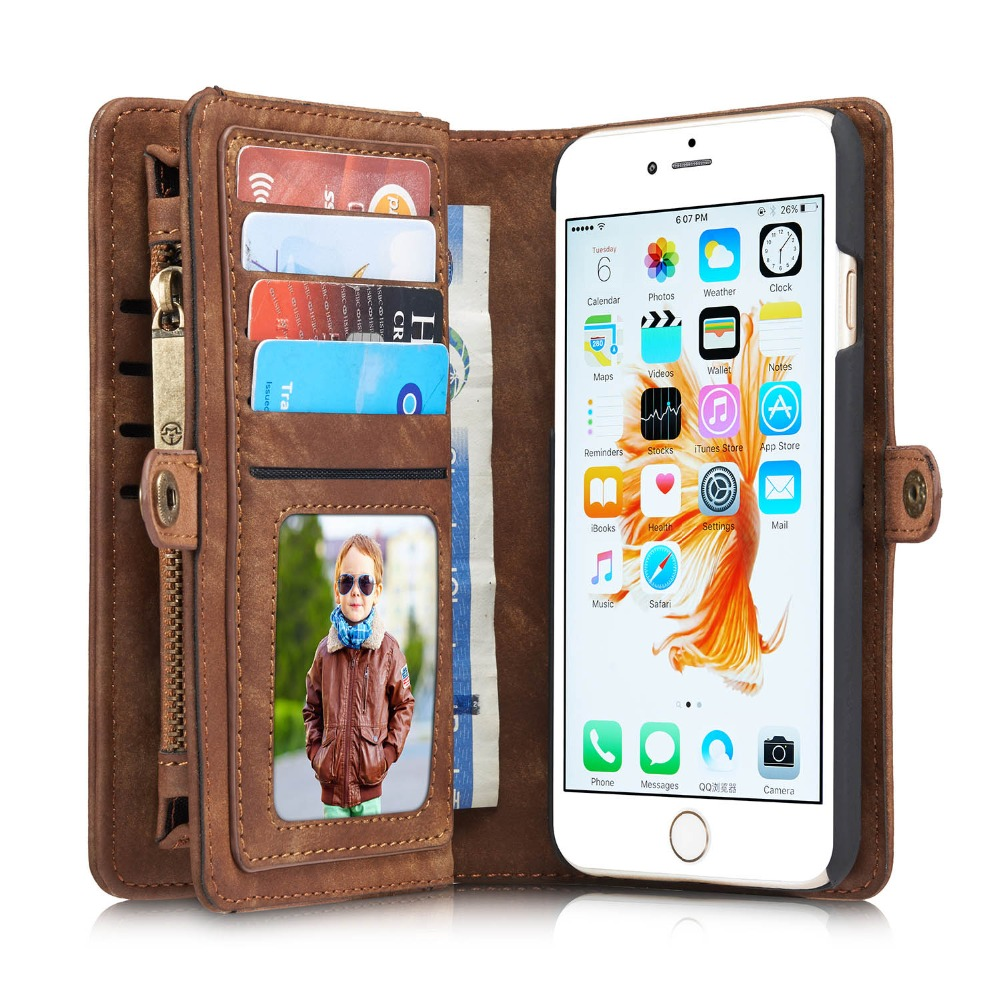 PRO 6S Plus Luxury Genuine Leather Case for Apple iPhone 6S Plus Case Wallet Flip Phone Bag Cases Leather Coque 6 6S Plus Cover(China (Mainland))