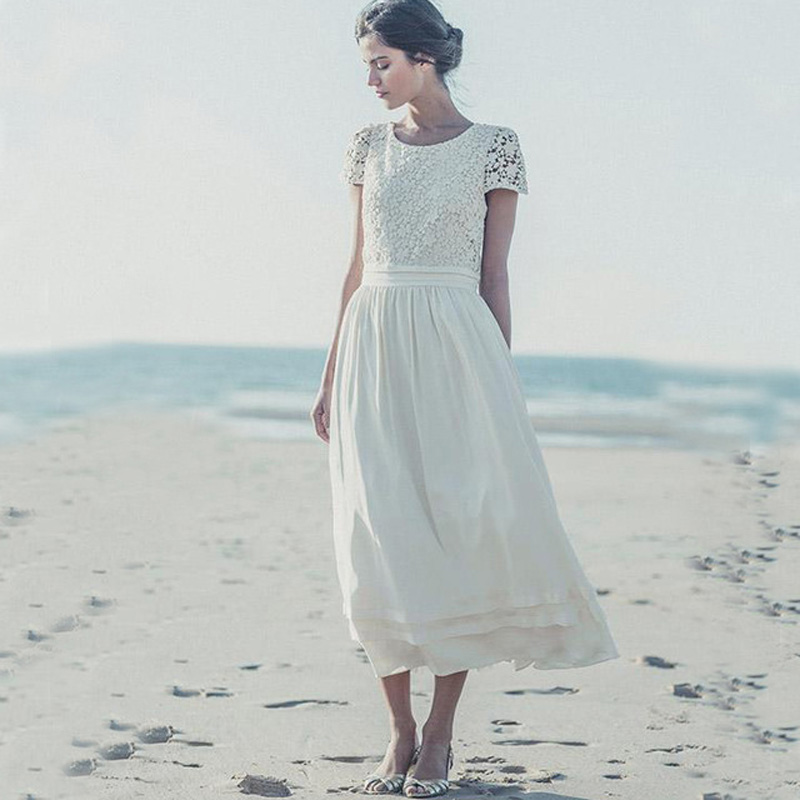 Vintage lace tea length beach wedding dress short sleeves for Simple tea length wedding dresses