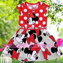 Baby Kids Girls Minnie Mouse Bowknot Cosplay Printing Dress(China (Mainland))
