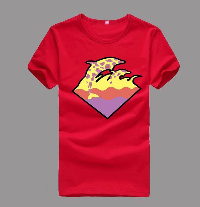 Men Pink Dolphin T Shirt Diamond Top Tee Plus Size XXXL Lovers Short-Sleeve(China (Mainland))