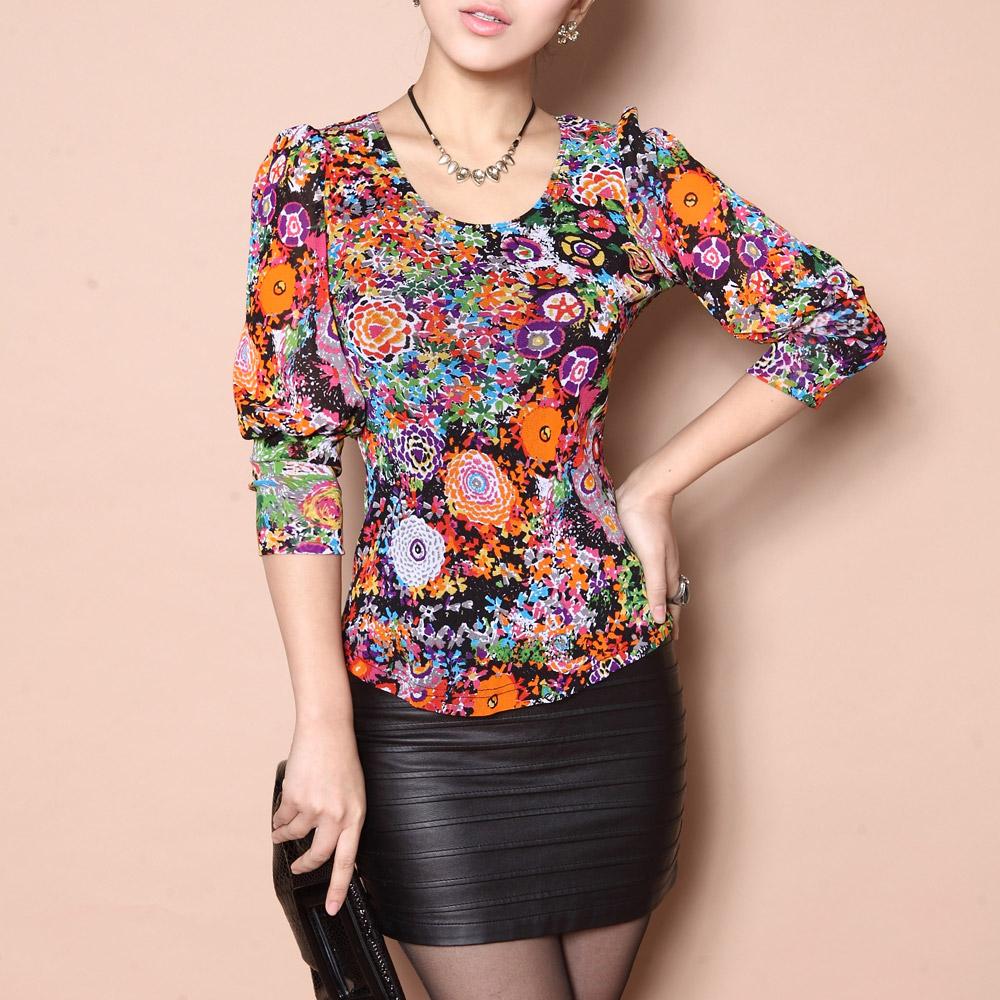 2013 spring o-neck puff sleeve t-shirt basic shirt slim women's three quarter sleeve(China (Mainland))