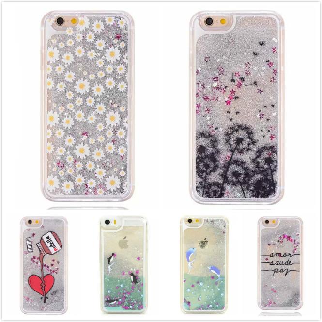 Fashion Painted Dandelion Transparent Dynamic Liquid Glitter Paillette Sand Quicksand Hard Back Cover Case for iPhone 6 6 Plus()