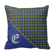 Sick Stylish Scottish Estes Clan Tartan Monogram Throw Pillow Case (Size: 45x45cm) Free Shipping