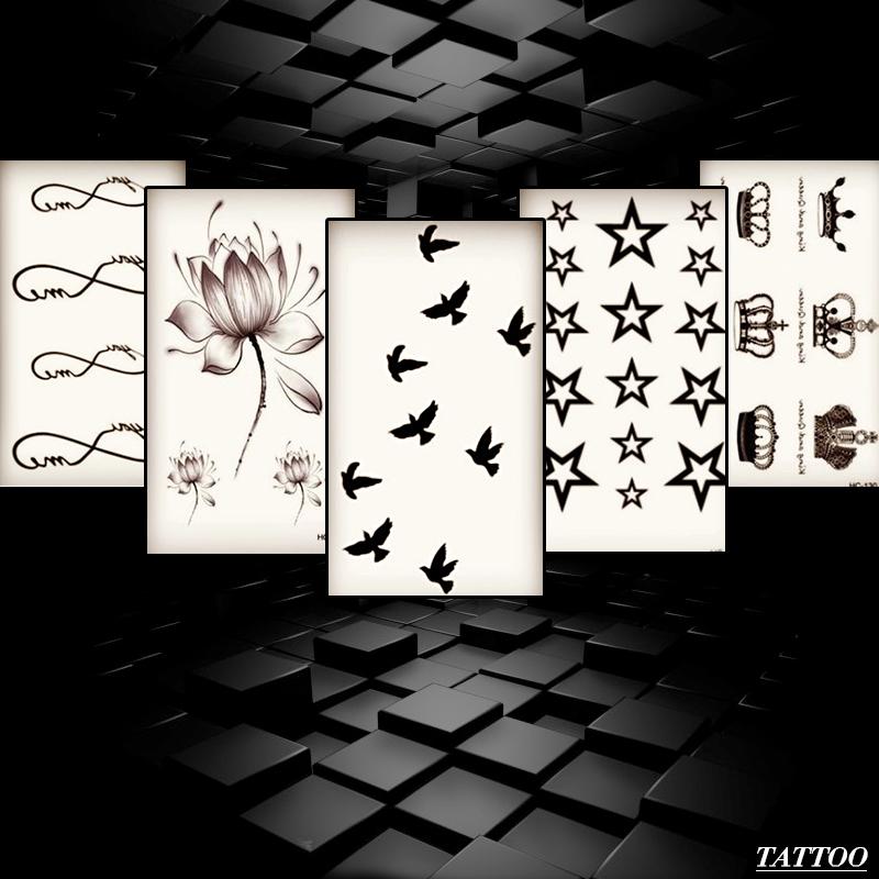 T5 004 Taty 5 PCS New Design Flash Tattoo Removable Waterproof Gold Tattoo Metallic Temporary Tattoo