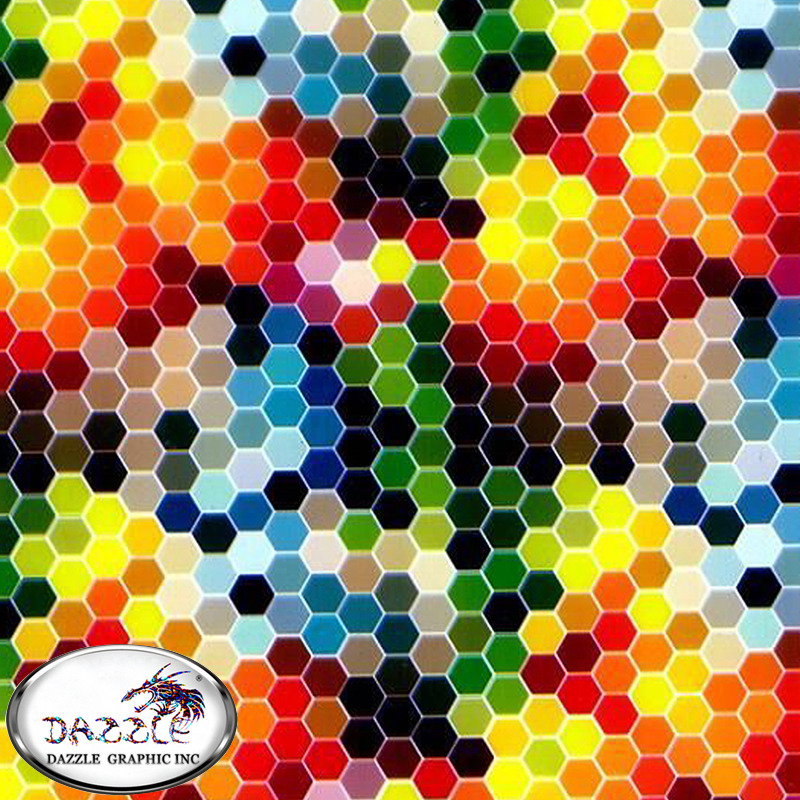 Free Shipping 0.5M*2M Fashionable Hydrographic Printing Film No.DGJJ-711 Colorful Hexagonal Pattern WTP Water Transfer Film(China (Mainland))