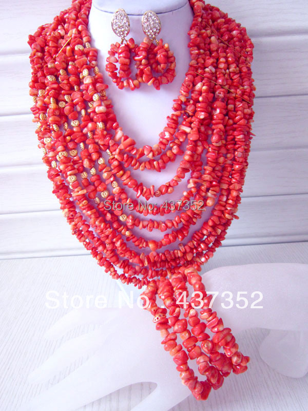 Marvelous African Nigerian Wedding Orange Coral Beads Jewelry Set Bridal Necklace Bracelet Clip Earrings CWS-123<br><br>Aliexpress