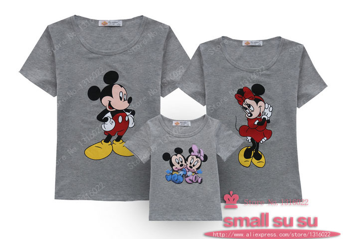 Family fashion clothes for mother and daughter summer short sleeve lovely mouse's Pattern family set clothes o-neck t-shirt .(China (Mainland))