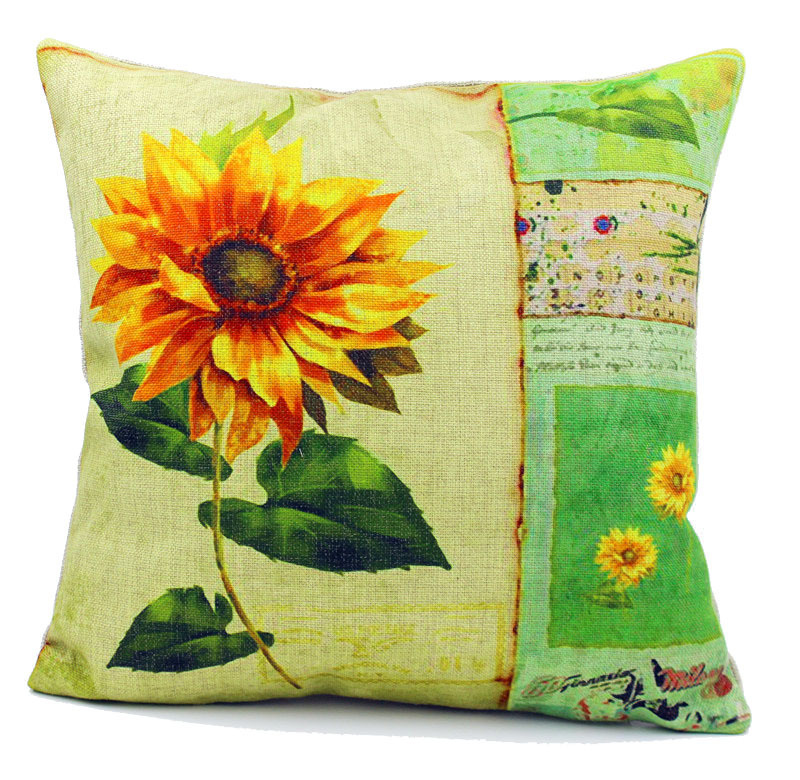free shipping breathable sun sunflower garden linen cushion cover pillow cover seat sofa printed. Black Bedroom Furniture Sets. Home Design Ideas